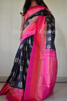 Elephant motif ikat silk saree Silk Saree Kanchipuram, Ikkat Saree, Handloom Saree, South Silk Sarees, Indian Silk Sarees, Motif Ikat, Wedding Saree Collection, Sari Design, Pochampally Sarees