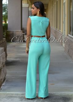 081ef42912d6 Sky Blue Sleeveless Casual Jumpsuit Long Pants Rompers For Women