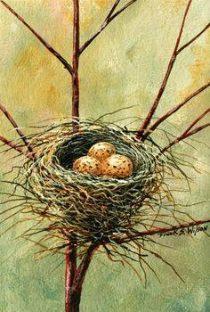 Frank Wilson – Bird Nest – wildlife – watercolor-gouache http://fineartamerica.com/featured/bird-nest-frank-wilson.html