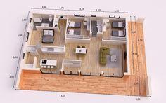 VENECIA 175 M2 ENTRAMADO LIGERO - VENECIA 175 M2 3d House Plans, Indian House Plans, Home Design Floor Plans, Dream House Plans, Modern House Plans, Small House Plans, Espace Design, Modern Small House Design, Three Bedroom House Plan