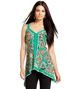 INC International Concepts Top, Sleeveless Exotic-Print Asymmetrical-Hem Tank - Womens Tops - Macy's