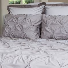 The Valencia Dove Gray Pintuck: beautifully designed bedding at an affordable price point