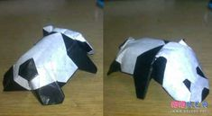 可爱趴趴熊猫折纸图解教程完成成品图 Origami, Logos, Logo, Origami Paper, Origami Art
