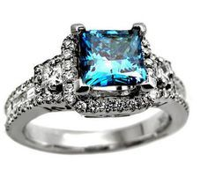 princess cut blue diamond ring