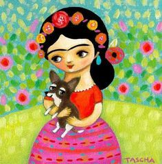 PRINT of painting Frida Kahlo with Chihuahua in rose garden CUTE dog art by tascha Frida Art, Dog Poster, Art Drawings For Kids, Chicano Art, Mexican Folk Art, Beauty Art, Acrylic Painting Canvas, Encaustic Painting, Whimsical Art