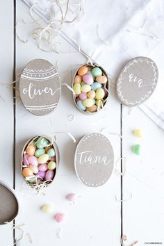 Easter candy nests personalized
