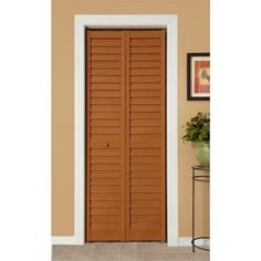 Home Fashion Technologies 18 in. x 80 in. 3 in. Louver/Panel Cherry ...