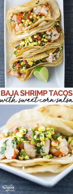 Shrimp Tacos with Corn Salsa   shrimp   tacos   Mexican   seafood   corn   salsa #mexicanfoods #tacos #recipes