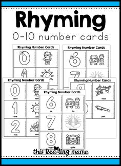 Rhyming Number Cards - This Reading Mama Free Preschool, Preschool Literacy, Literacy Centers, Kindergarten, Christmas Note, Phonics Activities, Learning Activities, Teen Numbers, Word Sorts