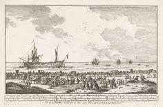 Franse fregat La Félicité door een Engels fregat op het strand gejaagd, 1761, Paulus Constantijn la Fargue, 1761
