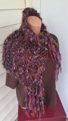 Gorgeous fall colored fringe cowl w/ large button.  Purple, brown, black & orange fall colors!