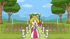 A Very Warm And Welcoming Queen At An Outdoor Wedding Ceremony Venue:   A blonde woman wearing a gold crown pink with white dress and gloves smiles as she lifts her left hand to wave right hand placed on her hip. Set in an outdoor wedding ceremony set in the greens with trees fancy gold wedding chairs with gray cushion flowers with white stands aligned on the sides of the aisle and a beautiful wedding arbor with a gray platform flowers and leaves towards the end of the walkway.