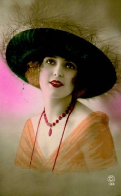 sydneyflapper:    1920s hand tinted postcard, girl in capeline hat