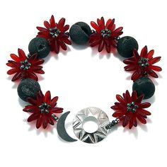 Red Star Flower Bracelet by Kathryn Bowman (Beaded Bracelet) | Artful Home