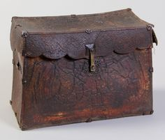 Lacquered Leather Coffer/box w/ original iron and brass fittings. Tibet, 14th-16th c.