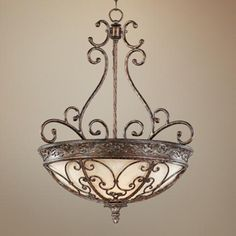 Scavo glass complements the gorgeous scrollwork of this pendant light. Style # at Lamps Plus. Tuscan Design, Tuscan Style, Interior Lighting, Chandelier Lighting, Chandeliers, World Decor, D House, Pendant Chandelier, Bathroom Chandelier