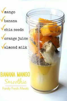 Smoothie Recipes Banana Mango Smoothie - Ingredients - This fun combo of this Banana Mango Smoothie will surely have your taste buds doing a happy jig! So sit back anf enjoy this tasty smoothie all summer long! Easy Smoothie Recipes, Easy Smoothies, Smoothie Ingredients, Smoothie Drinks, Fruit Smoothies, Healthy Breakfast Smoothies, Vegetarian Smoothies, Smoothie Packs, Smoothie Prep