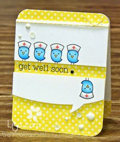 Get Well Card by Lisa Lara using Get Well Stamp Set (Lawn Fawn), Summer Bliss 6x6 Paper Pad (Echo Park), white 6mm sequins, Black and Gray Necessities Enamel Dots (My Minds Eye), Yellow Bakers Twine and Tuxedo Black Ink (Memento).  All from iheartpapers.com