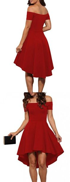 LOSRLY Womens Off Shoulder Semi Formal Short Evening Dress New Year Plus Size Red XXL 18 20