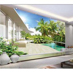 Barato Foto papel de parede paisagem natural coco árvore sala tv pano de fundo papel de parede 3d estéreo mural quarto home decor #208, Compro Qualidade Papéis de parede diretamente de fornecedores da China: