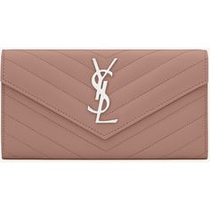 Large Monogram Saint Laurent Flap Wallet (4.605 DKK) ❤ liked on Polyvore featuring bags, wallets, monogrammed bags, yves saint laurent, stitch wallet, flap wallet and yves saint laurent bags