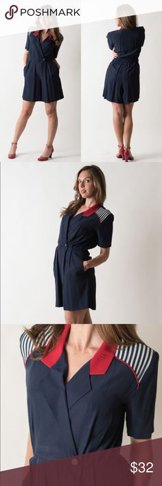Vintage 1990s Navy Blue Nautical Romper Acetate/Rayon blend. Material is dry clean only. Made by Sheri Martin Petites. Best fit for a size 8 to 10.    There are a couple darkish marks on the back of the collar, but these do not detract.   { m e a s u r e m e n t s }  taken with garment laying flat s h o u l d e r : 15.5 inches (seam to seam) b u s t : 20 inches (armpit to armpit) w a i s t : 14 inches across h i p : 22.5 inches (at widest point) t o r s o : 30.5 inches (shoulder to crotch) l…