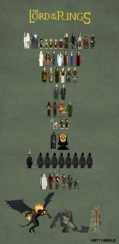 Lord of the Rings as 8 Bit Characters
