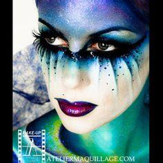 Alien makeup inspiration for my Halloween costume :) Fairy Fantasy Makeup, Fantasy Make Up, Fantasy Hair, Fairy Make-up, Maquillage Halloween, Halloween Makeup, Halloween Ideas, Halloween Dance, Halloween Costumes