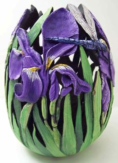 Carved Gourd by Contemporary artist Phyllis Sickles- This would be awesome in polymer clay...