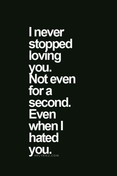 I never stopped loving you. Not even for a second. Even when I hated you.