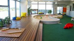 Childcare playspace design response to population density changes Play Spaces, Learning Spaces, Kid Spaces, Playground Design, Indoor Playground, Natural Playground, Playground Ideas, Café Design, Daycare Design