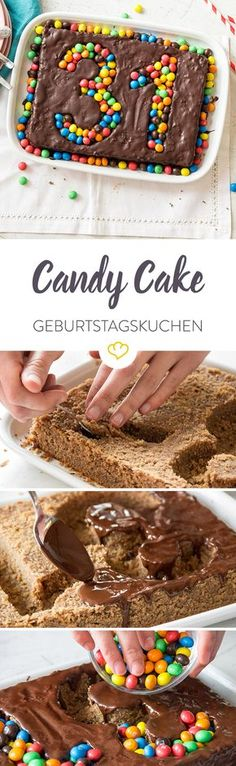 Happy-Birthday-Kuchen This Super Duper birthday cake is baked in no time and decorated even faster. Many colorful M & Ms …. Mini Desserts, Chocolate Desserts, Chocolate Cake, Food Cakes, Happy Birthday Kuchen, Bolo Diy, Dessert Halloween, Chocolate Videos, Cake Recipes