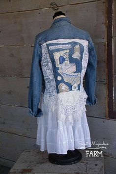 Farm Girl Fancies Upcycled Jean Jackets by: Sweet Magnolias Farm (To Read entire description please click on the +MORE in the bottom left of description) Original size Womens Size 14 . ( please check measurements Clothing sizes vary greatly) Approx. Shoulders 16 Bust Up to 40