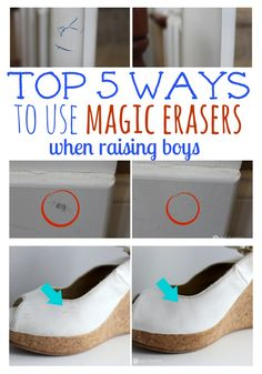 Top 5 Ways to Use Magic Erasers when Raising Boys- awesome ideas and tips and I love the before and after pictures.  Oh and you don't have to be a mom of boys to need this post!