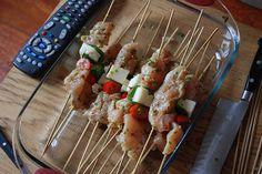 Chicken Halloumi Basil Tomato Skewers - The Food in my Beard