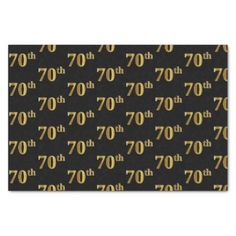 Black Faux Gold 70th (Seventieth) Event Tissue Paper - gold gifts golden customize diy
