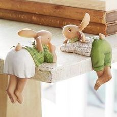 Rabbit Shelf Sitters - Set of Assorted Easter decoration gift bunny inspiration Clay Projects, Clay Crafts, Diy And Crafts, Easter Bunny, Easter Eggs, Diy Ostern, Easter Table, Cold Porcelain, Fabric Dolls