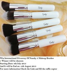WIN INTERNATIONAL GIVEAWAY OF 5 NANSHY MAKEUP BRUSHES  http://glamorousgirlblog.blogspot.com/2013/07/win-international-giveaway-of-5-nanshy.htm