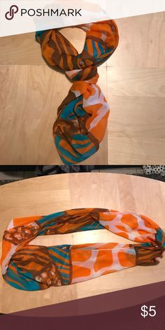 Multicolored sheer scarf Very pretty orange and turquoise scarf Accessories Scarves & Wraps