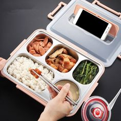 SaicleHome Portable Leak-proof Lunch Box School Office Picnic 304 Stainless Steel Bento Box - Newchic Mobile Source by kdcookie box Cool Kitchen Gadgets, Cool Kitchens, Beste Lunchbox, Leak Proof Lunch Box, Cute Food, Yummy Food, Stainless Steel Bento Box, Stainless Steel Lunch Containers, Kawaii Bento