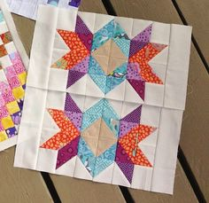 """Beauteous """"Double Starburst"""" block by Sherri Noel. Fantastic colors! Pattern available for $2.00 here: http://www.craftsy.com/pattern/quilting/home-decor/bom-12-scrap-happy-quilt-block-sampler/78415"""