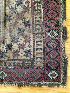 Distressed Antique Rug with Lesghi Star Motif