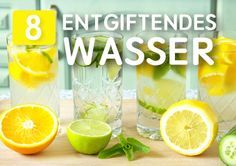 Tolle Ideen für Infused Water. Ob mit Minze, Gurke, Erdbeere oder Löwenzahn, hier gibt es für alle interessante Ideen für entgiftende Drinks auf der Basis von Wasser.