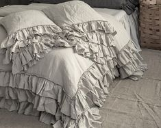 Shabby Chic linen ruffled duvet cover with ruffles. Softened and washed linen. MOOshop new colors.