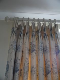 "Full length interlined curtains in Sarah Hardaker's ""Florence"" fabric - hand made by Victoria Clark Interiors. Curtain pole by The Painted Pole Company."