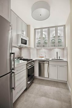 Kitchen, Excellent Small Kitchen Designs : White Small Kitchen With Grey Tiles ~ oyshis.com Inspiration