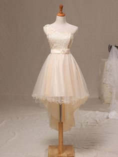 High Low Prom Dress,One Shoulder Tulle Lace Prom