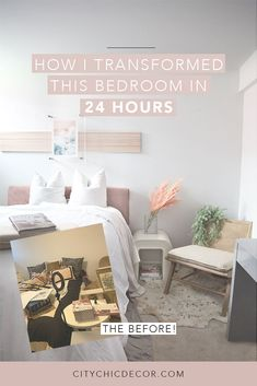 Learn how to turn your bedroom into a sanctuary you'll never want to leave. I transformed this bedroom on a budget and fast / quickly within 24 hours. In just one day, I took a messy room and turned it into an Art Deco bedroom with blush details and an airy feel. Learn how I did it with my easy tutorial! Oh, and I also created cool dowel art! #smallbedroomideas #bedroomideas #bedroomdecor #rentalhomedecoratingdiy Art Deco Bedroom, Bedroom Decor, Renters Solutions, Old Headboard, Woven Chair, Bedroom Apartment, Apartment Goals, Messy Room, Studio Apartment Decorating