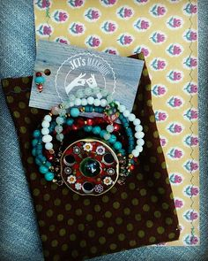 Voor veerle #Boho #beaded #resin #jarcap #bracelet #packaging #pakketje#armband