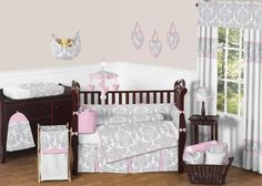 Sweet Jojo Designs Pink, Gray and White Elizabeth Baby Girl Bedding 9pc Crib Set